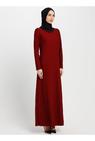 Gelince Kadın Yakası Güpürlü Elbise