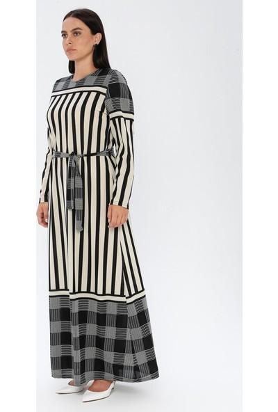 Gelince Kadın Çizgili Elbise