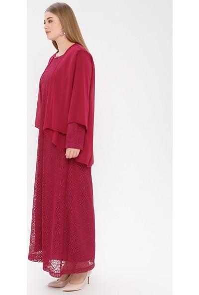 Simetrik Moda Kadın Dantelli Abiye Elbise