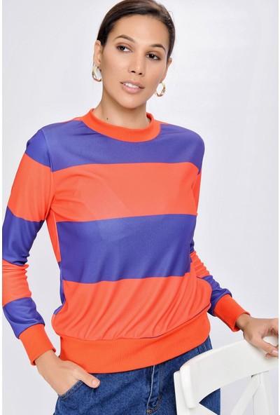Buklemoda Kadın Blok Desenli Sweatshirt