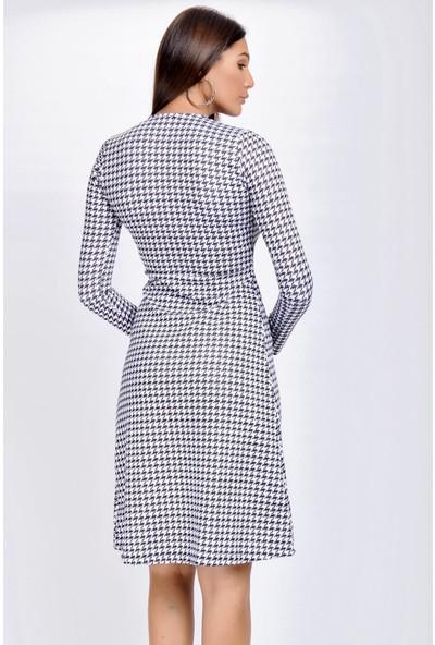 Buklemoda Kadın Siyah-Beyaz Kazayağı Desenli Kruvaze Elbise