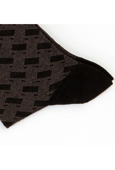Dufy Erkek Siyah Füme Erkek Çorap