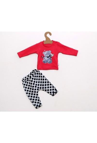 Miniço Ayıcık Papyon Desenli Puantiyeli Taytlı Kız Bebek İkili Takım Fuşya