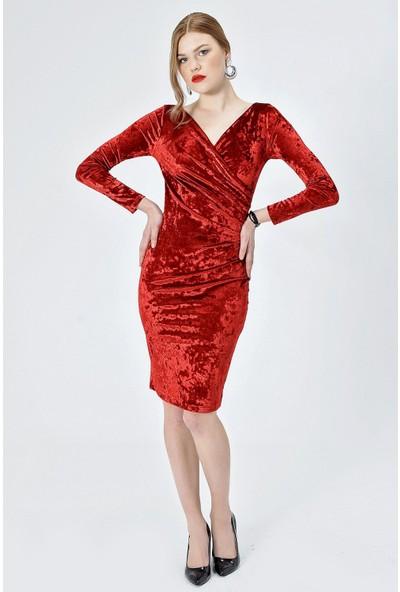 Jument Kadın 2454 Kadife Anvelop Pileli Uzun Kol Kırmızı Elbise