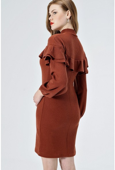Jument Kadın 50030 Yarım Balıkçı Ön Ve Kolu Volanlı Kiremit Elbise