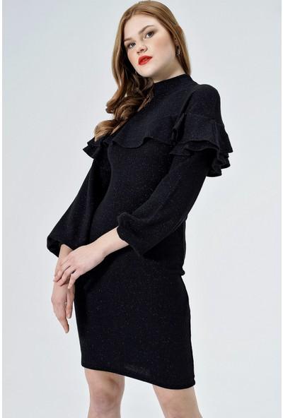Jument Kadın 50030 Yarım Balıkçı Ön Ve Kolu Volanlı Siyah Elbise