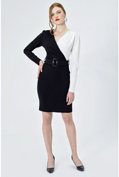 Jument Kadın 50032 İki Renk Anvelop Kemerli Elbise