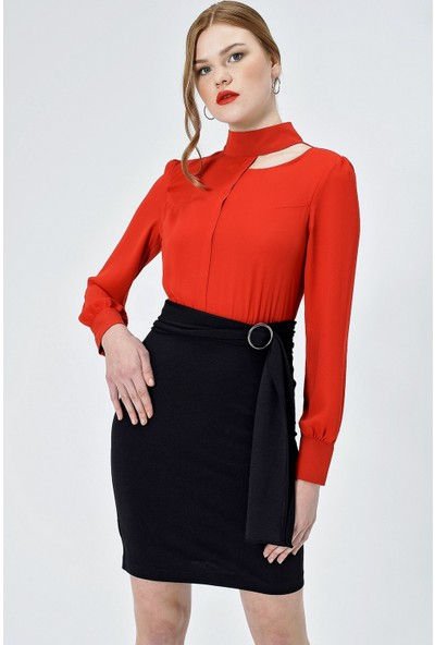 Jument Kadın 50033 Krep Hakim Yaka Uzun Kol Kemerli Kırmızı Elbise