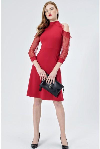 Jument Kadın 55005 Tül Garnili Kolları Volanlı Kiloş Kırmızı Elbise