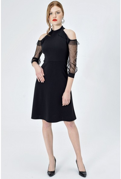Jument Kadın 55005 Tül Garnili Kolları Volanlı Kiloş Siyah Elbise