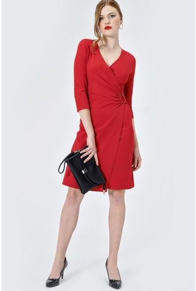 Jument Kadın 2551 D Tokalı Capri Kol Kırmızı Elbise