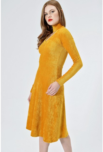 Jument Kadın 6373 V Yaka Uzun Kol Kiloş Hardal Elbise