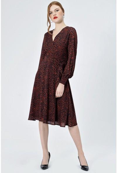 Jument Kadın 50020 Kruvaze Eteği Kiloş Uzun Kol Kiremit Leopar Elbise