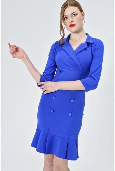 Jument Kadın 50029 Krep Yakalı Anvelop Düğmeli Pileli Sax Elbise
