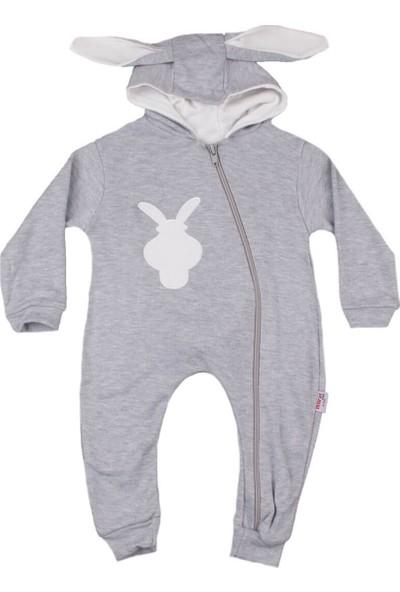 Murat Baby Murat Baby Tavşan Şapkalı Gri Tulum