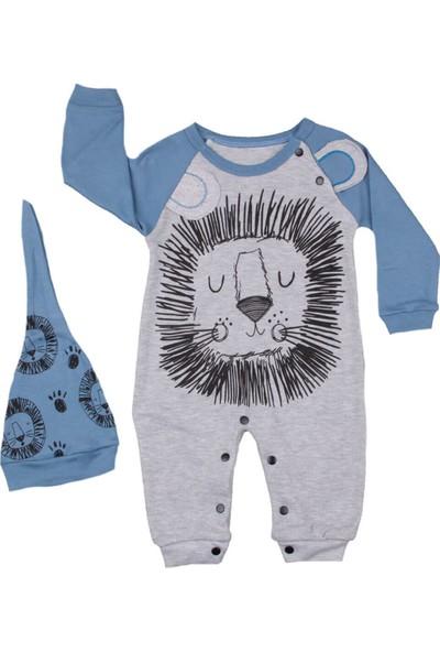 Murat Baby Murat Baby Aslan Desen Şapkalı Mavi Tulum