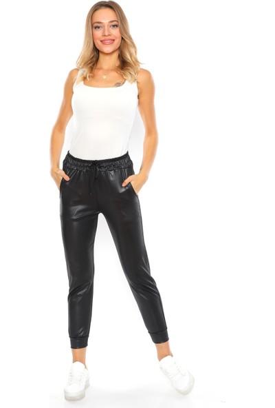 Alışveriş Sokağı Rahat Tasarım Kadın Şardonlu Deri Pantolon