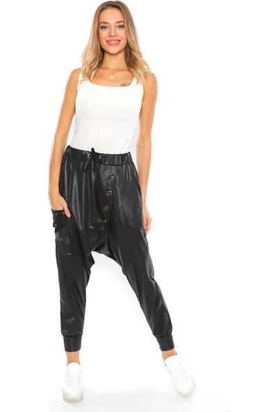 Alışveriş Sokağı Siyah Renk Metal Detaylı Rahat Tasarım Kadın Deri Şalvar