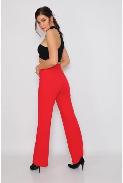 Alışveriş Sokağı Yüksek Bel Crep Kumaş Bol Paça Kadın Pantolon