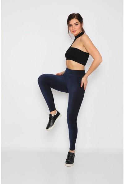 Alışveriş Sokağı Yüksek Bel Kadife Kadın Tayt Pantolon