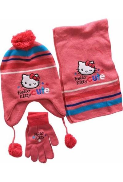 Hello Kitty Kız Çocuk Atkı, Bere,Eldiven Takımı