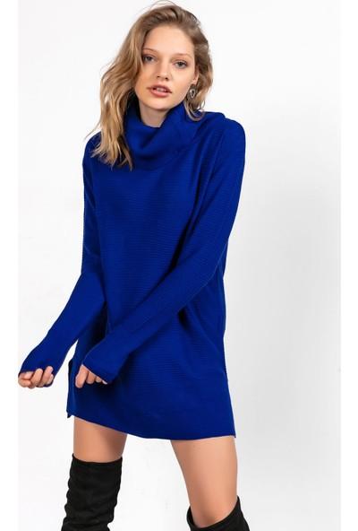 Liplipo Degaje Yaka Yanları Yırtmaçlı Triko Elbise
