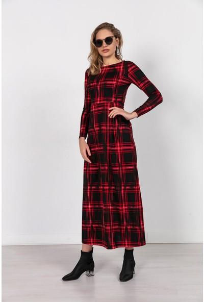 Liplipo Ekose Desen Cepli Pileli Uzun Elbise