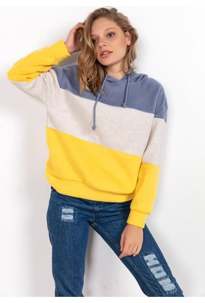 Liplipo Kapşonlu Üç Renkli Yumoş Sweatshirt