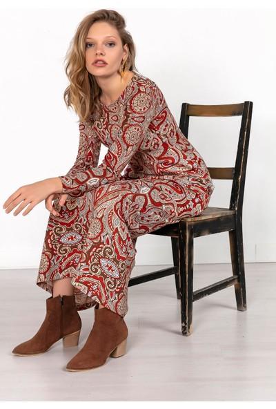 Liplipo Şal Desen Cepli Pileli Uzun Elbise