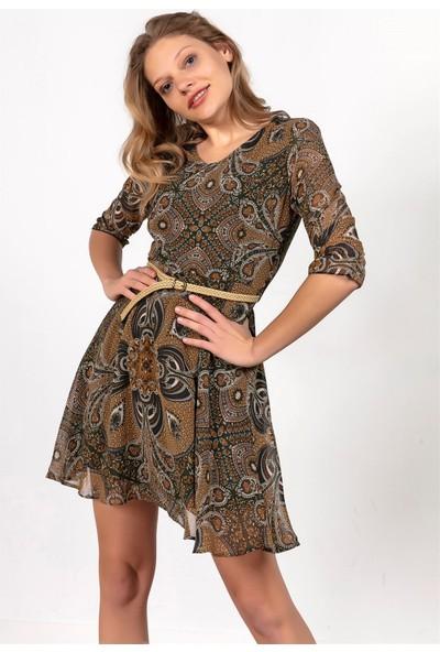 Liplipo Şal Desenli Beli Kemerli Astarlı Şifon Elbise