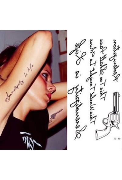 Petek Aksesuar Tabanca Yazı Geçici Dövme Tattoo