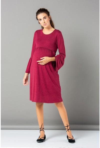 Görsin Kol Detaylı Kısa Hamile Elbise