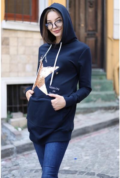 Görsin Pul Payet Detaylı Yıldız Desenli Sweatshirt