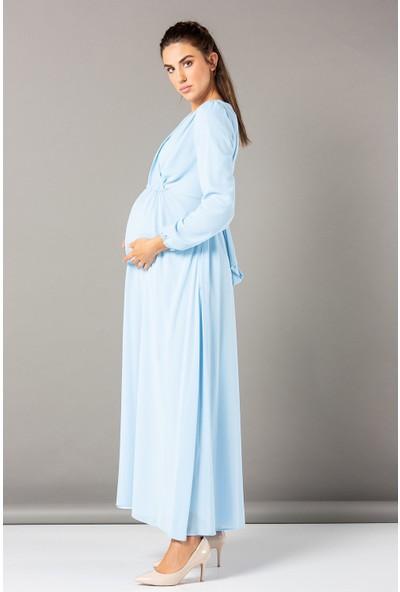 Görsin Babyshower Hamile Uzun Kollu Şifon Elbise Bebe Mavi