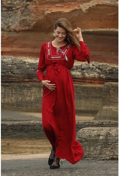 Görsin Ön Ve Kol Nakış Detaylı Uzun Hamile Elbise
