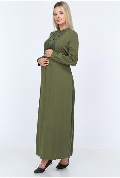 Görsin Hakim Yaka Roba Dantelli Uzun Hamile Elbise