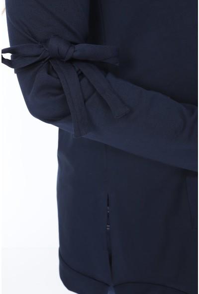 Görsin Kolları Bağcık Detaylı Cepli Hamile Lacivert Sweatshirt