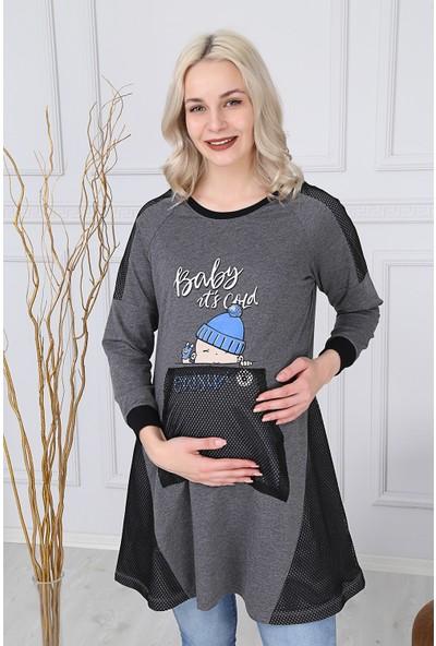 Görsin Baskılı File Cep Detaylı Hamile Füme Sweatshirt