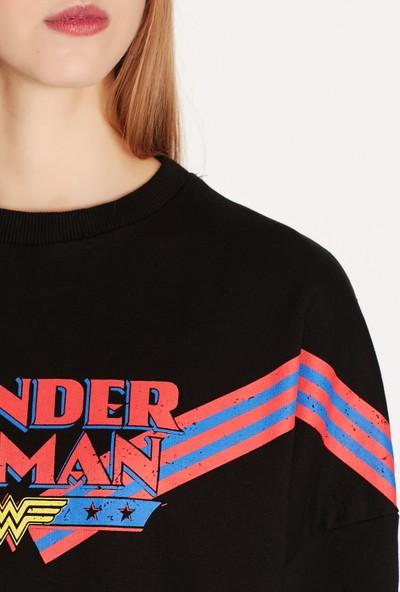 Mavi Wonder Woman Baskılı Siyah Sweatshirt