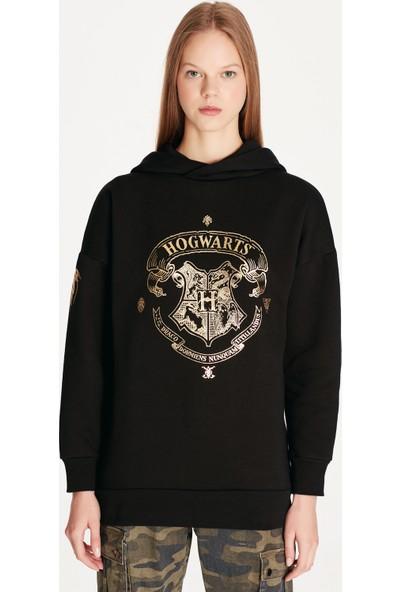 Mavi Hogwarts Baskılı Siyah Sweatshirt
