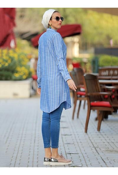 Por La Cara Kadın Çizgili Uzun Gömlek