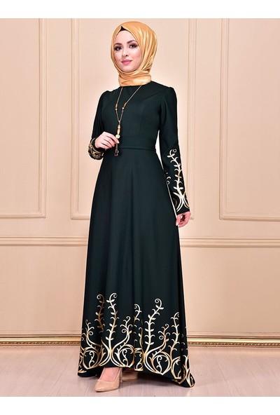Ayşe Melek Tasarım Kadın Kolyeli Varaklı Abiye Elbise