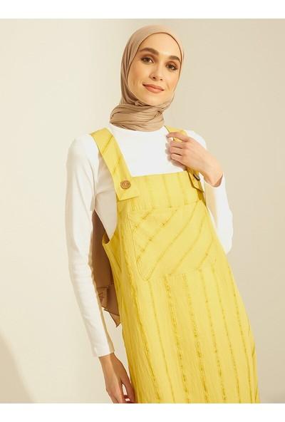 Mnatural Kadın Çizgili Tulum Elbise