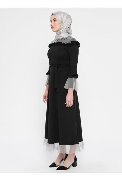 Tuana Kadın Tül Detaylı Abiye Elbise