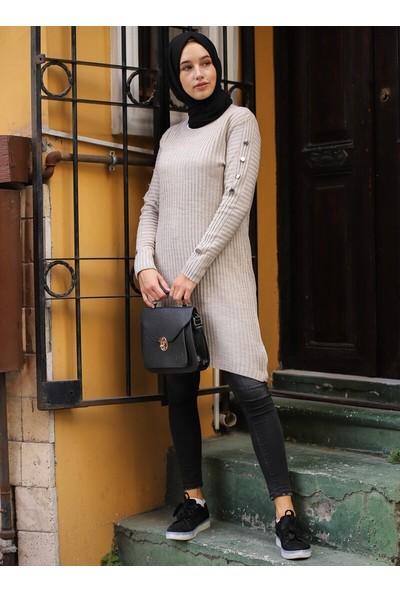 Sahra Butik Kadın Kolları Düğmeli Fitilli Kazak