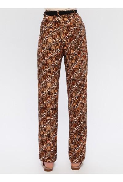 Sln Kadın Desenli Rahat Kesim Pantolon