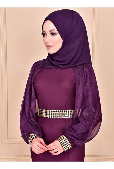 Ayşe Melek Tasarım Kadın Şifon Kollu Elbise