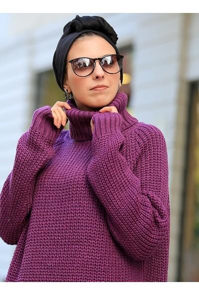 Por La Cara Kadın Selanik Örgü İtalyan Kol Tunik