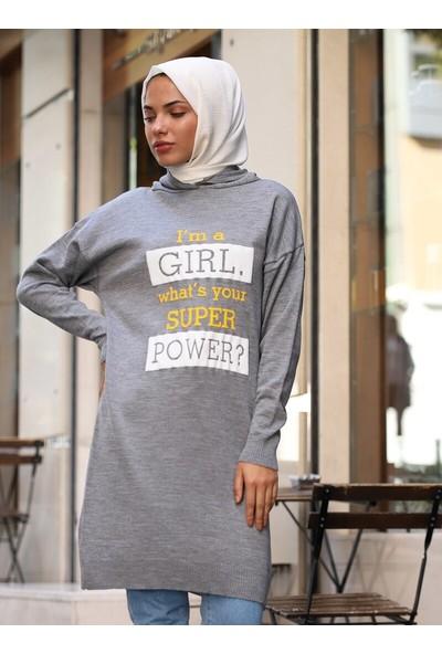 Sahra Butik Kadın Girl Power Baskılı Kapüşonlu Triko Kazak