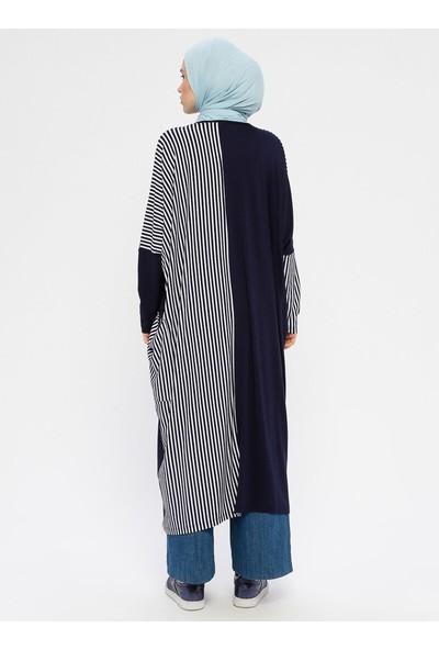 Peker Kadın Cep Detaylı Marin Tunik